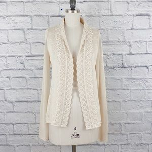 Anthropologie Cotton Open front Crotchet Cardigan